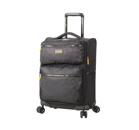 Lucas Ultra Lightweight Carry On Softside 20 inch Expandable Luggage With Spinner Wheels (20in, Black)