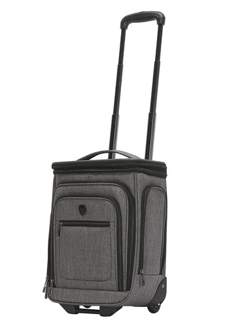 "Travelers Club Luggage 17"" Top Expandable Underseater W/Side USB Port Connector, Dark Gray Suitcase, Carry"