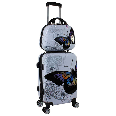 Wholesale!12 24Inches Pc Hardside Case Trolley Luggage Set,Butterfly Travel Luggage For