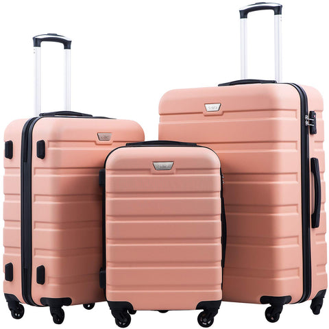 Coolife Luggage 3 Piece Set Suitcase Spinner Hardshell Lightweight TSA Lock 4 Piece Set (Sakura Pink)