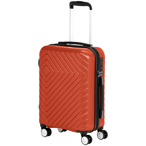 AmazonBasics Geometric Luggage 18-inch international carry-on, Red
