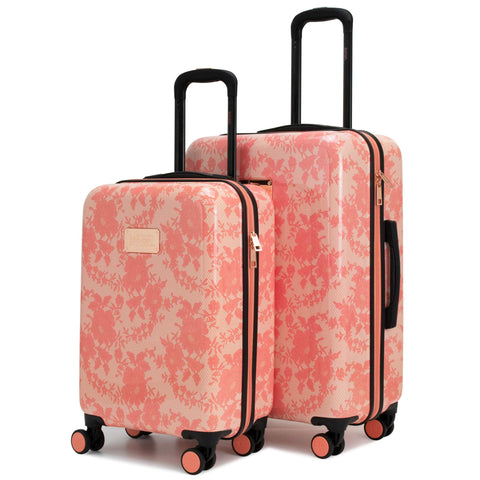 BADGLEY MISCHKA Essence 2 Piece Hard Spinner Luggage Set (Pink Lace, Medium+Carry-on)
