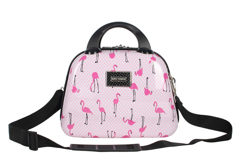 Betsey Johnson Hardside Cosmetic Case - Lightweight Small Size Hardshell Travel Hand Makeup Bag - Adjustable Shoulder Strap - Bag for Women and Girls - Multi-Functional Case (Flamingo Strut)