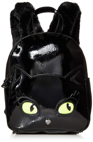 Betsey Johnson Resting Kitsch Face Backpack, Black