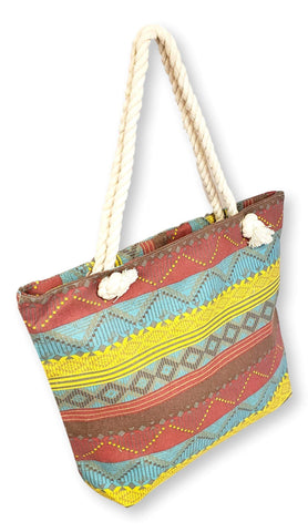101 BEACH Medium Sized Summer Print Canvas Beach Tote Bag ... (Burgundy Teal Boho Stripe)