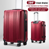 Coolife Luggage Suitcase PC+ABS with TSA Lock Spinner Carry on Hardshell Lightweight 20in 24in 28in (wine red, M(24IN))