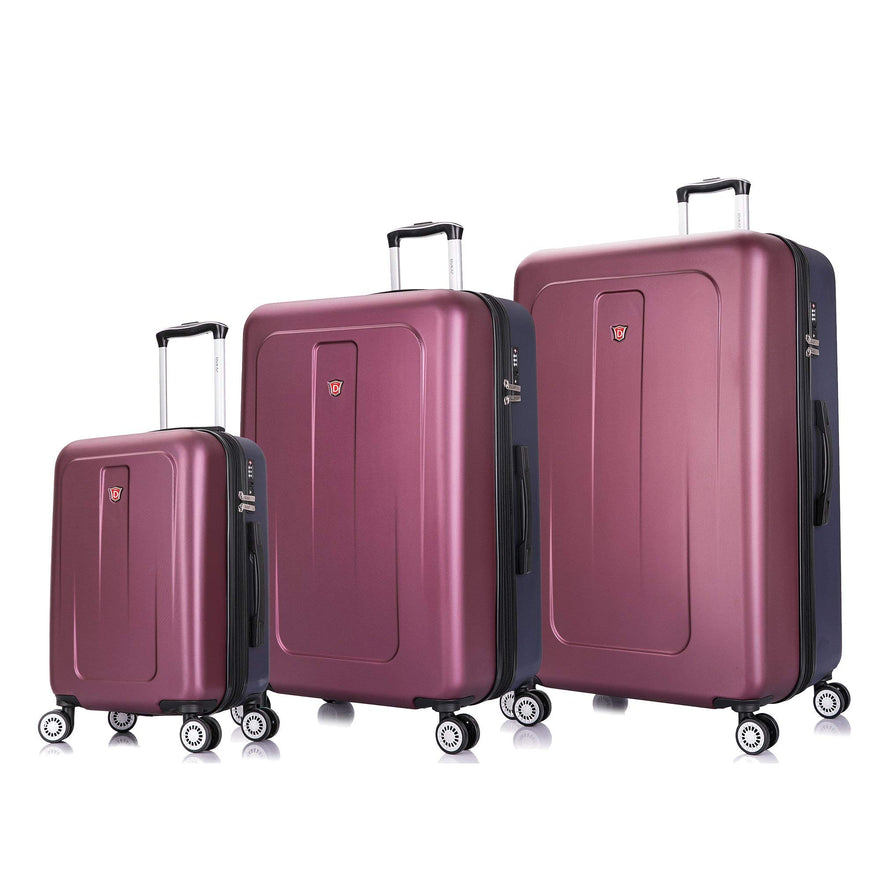 DUKAP Luggage Set - Crypto Collection - Lightweight Hardside 3 piece set 20''/28''/32'' - Two Tone (Wine/Blue) - Suitcases with Wheels