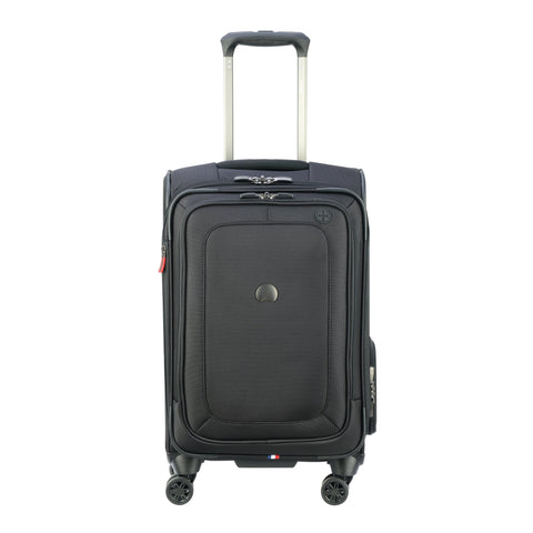 DELSEY Paris Cruise Lite Softside Carry-On Exp. Spinner Suiter Trolley, BLACK