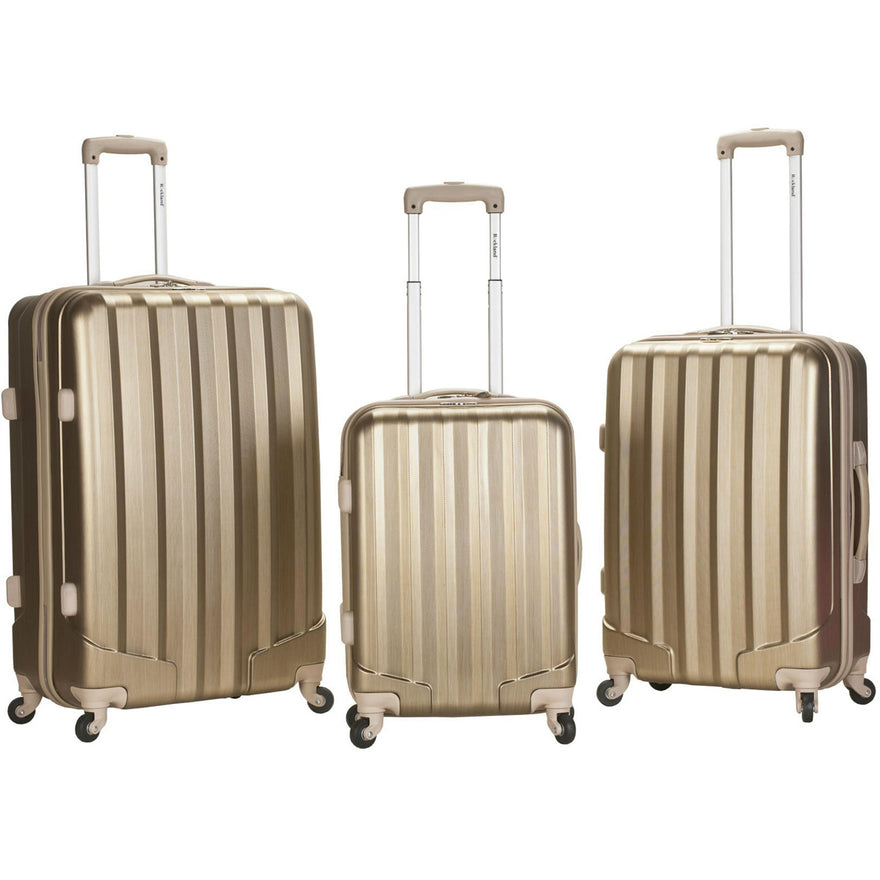 Rockland Luggage Santa Fe Metallic 3 Piece Polycarbonate Spinner Luggage Set