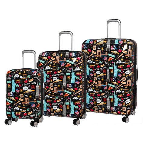 it luggage Sheen Hardside Expandable 3 Piece Set, Black New York Fun Icons Print