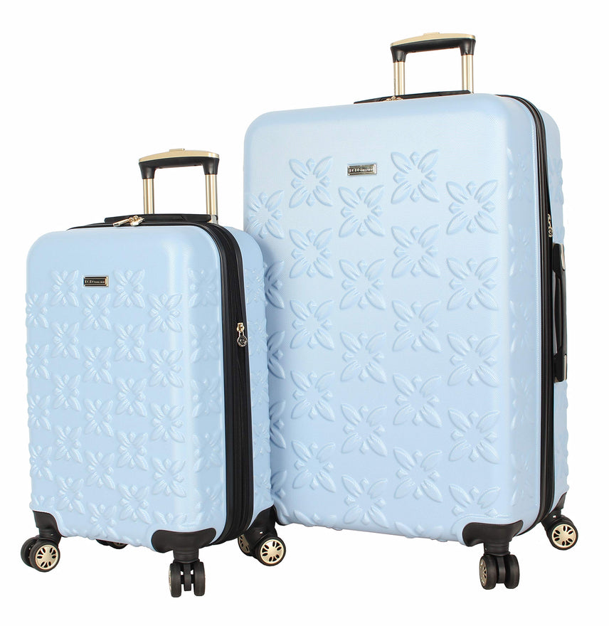 BCBGeneration BCBG Butterfly Luggage Hardside 2 Piece Suitcase Set with Spinner Wheels (One Size, Blue)