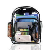 Heavy Duty Clear Backpack, See-Thru Bookbag, Transparent Work Travel Bag Black