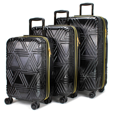 Badgley Mischka Contour Hard Expandable Spinner Luggage Set (3 Piece) (Black)