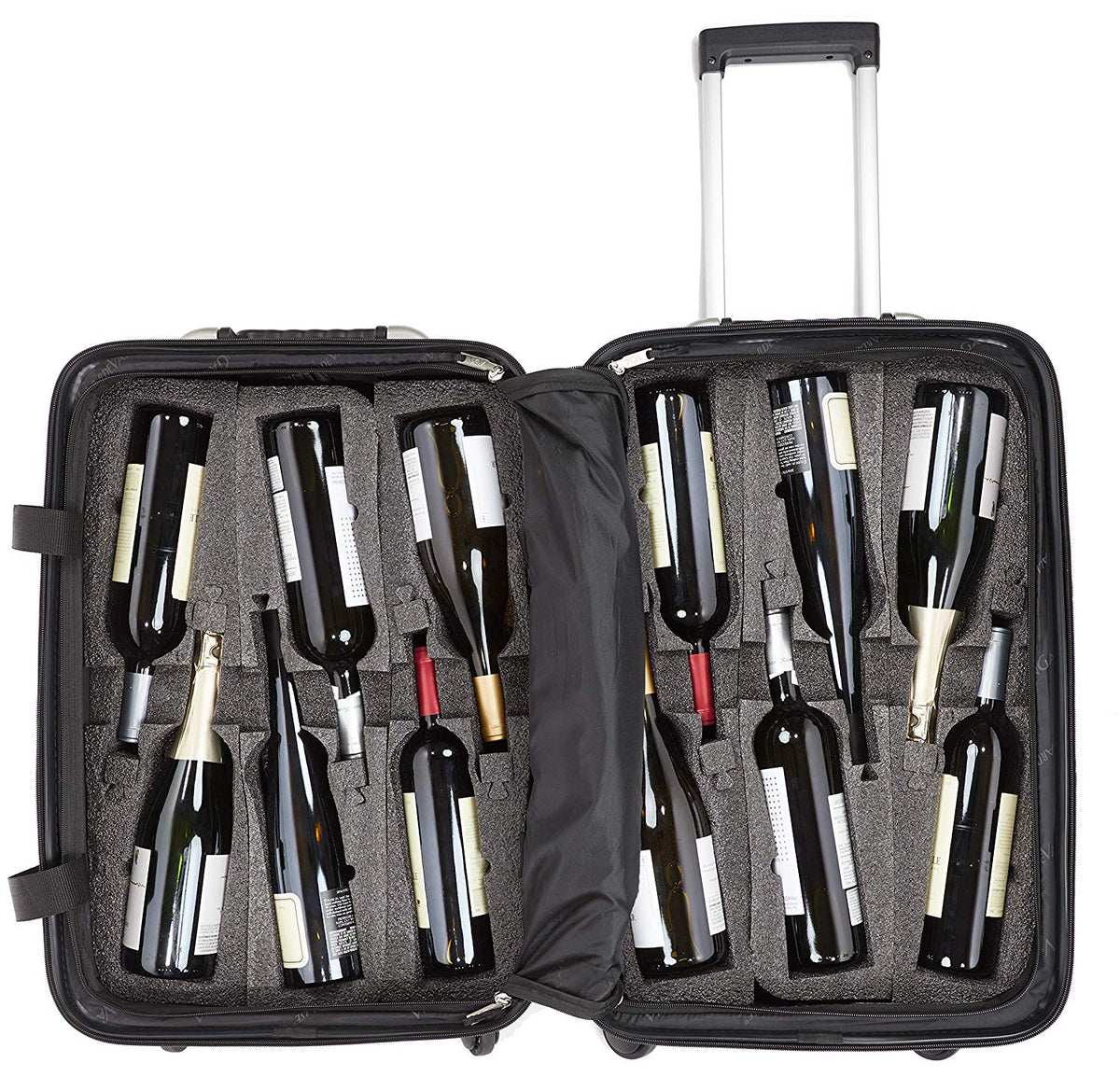 VinGardeValise - Up to 12 Bottles & All Purpose Wine Travel Suitcase (Silver)