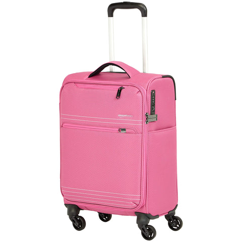 AmazonBasics Lightweight Luggage, Softside Spinner Travel Suitcase with Wheels - 22 Inch, Pink