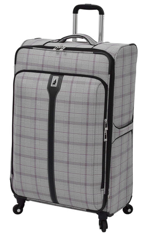 "London Fog Knightsbridge 29"" Expandable Spinner, Grey Burgundy Glen Plaid"