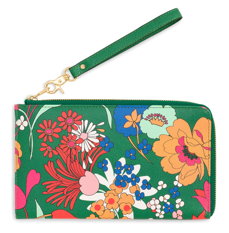 Ban.do Women's Getaway Travel Wallet Wristlet, Passport & Card/ID Holder with Removable Wrist Strap, Superbloom