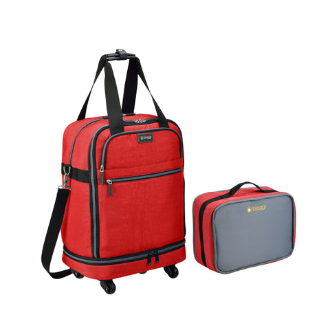 Biaggi Zipsak Micro Fold Spinner Carry-On Suitcase - 22-Inch Luggage - As Seen on Shark Tank - Red