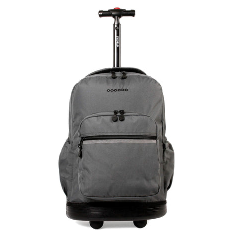 J World New York Sunrise 18-inch Rolling Backpack - Grey Solid Polyester