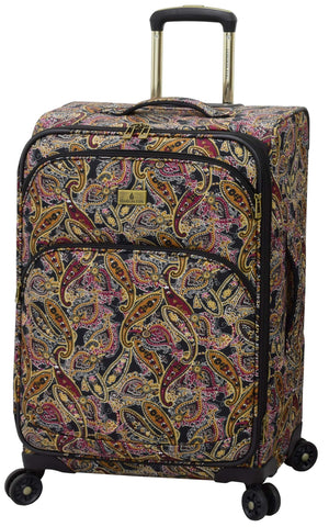"London Fog Cranford 25"" Expandable Spinner, Black Gold Plum Paisley"