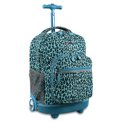 J World New York Sunrise Rolling Backpack - Mint Leopard Green Polyester Checkpoint-Friendly Adjustable Strap Lined Water Resistant