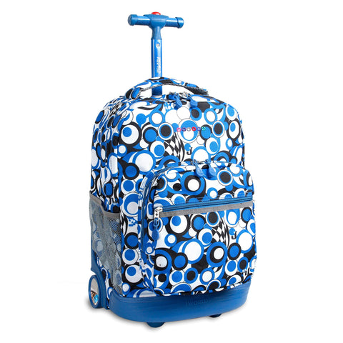 J World New York Sunrise 18-inch Rolling Backpack - Chess Blue Geometric Polyester Adjustable Strap Lined Water Resistant