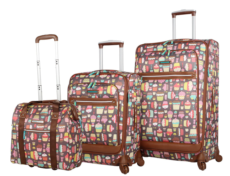 Lily Bloom Luggage 3 Piece Softside Spinner Suitcase Set Collection (Cupcake)