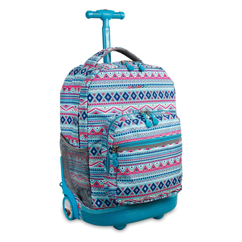 J World New York Sunrise 18-inch Rolling Backpack - Mint Tribal Blue Designer Print Polyester Adjustable Strap Lined Water Resistant