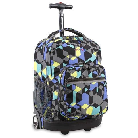 J World New York Sunrise 18-inch Rolling Backpack - Cubes Multi Color Geometric Aluminum Plastic Multi-Compartment Adjustable Strap