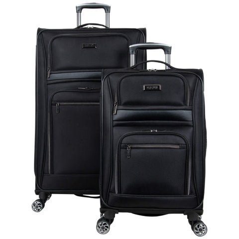 Kenneth Cole Reaction Softside Expandable 8-Wheel Spinner Travel Luggage Set, Black