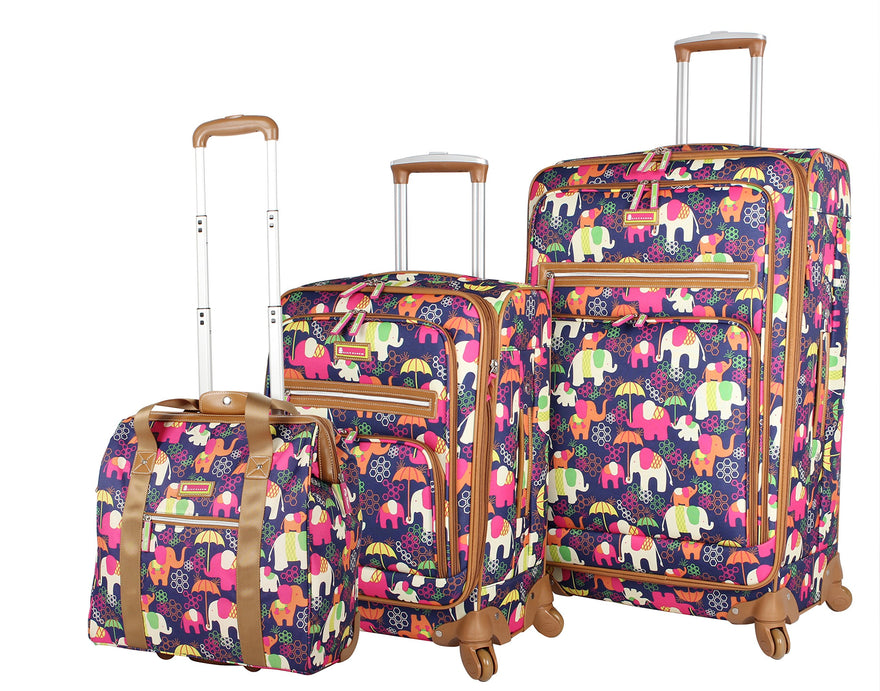Lily Bloom Luggage 3 Piece Softside Spinner Suitcase Set Collection (Elephant Rain)