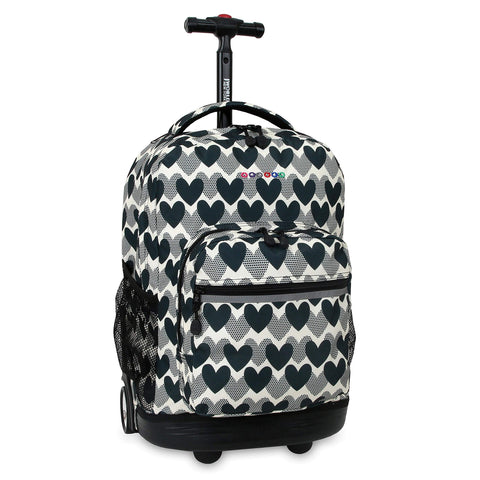 J World New York Sunrise 18-inch Rolling Backpack - Heart Dot Black Designer Print Polyester Checkpoint-Friendly Adjustable Strap Lined Water Resistant