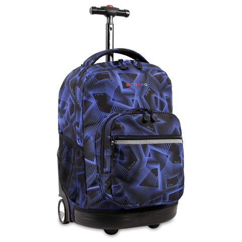 J World New York Sunrise 18-inch Rolling Backpack - Disco Blue Graphic Aluminum Plastic Multi-Compartment Adjustable Strap