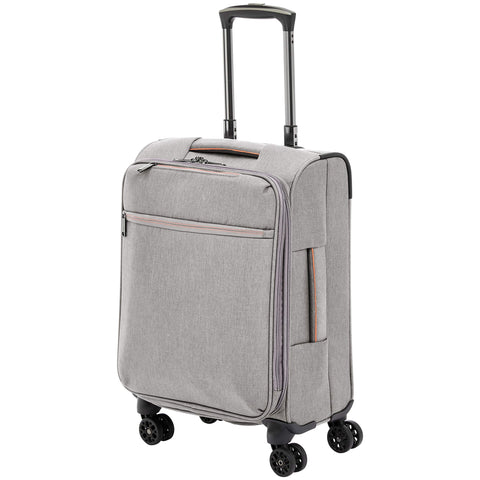 AmazonBasics Belltown Softside Rolling Spinner Suitcase Luggage - 21-Inch, Heather Grey