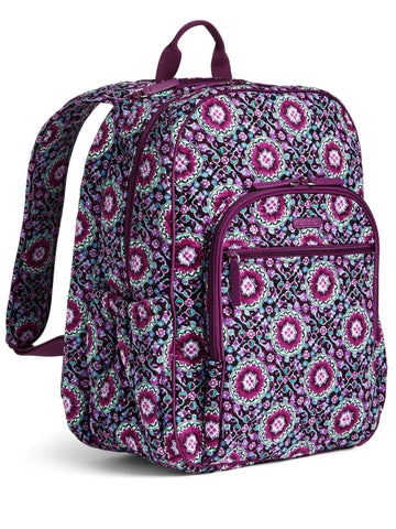 Vera Bradley Campus Tech Backpack, Signature Cotton (Purple/Lilac Medallion, One Size)