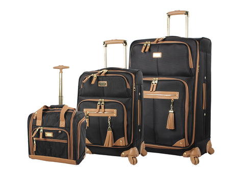 "Steve Madden Luggage 3 Piece Softside Spinner Suitcase Set Collection (20""/28""/Under Seat Bag) (Harlo Black)"