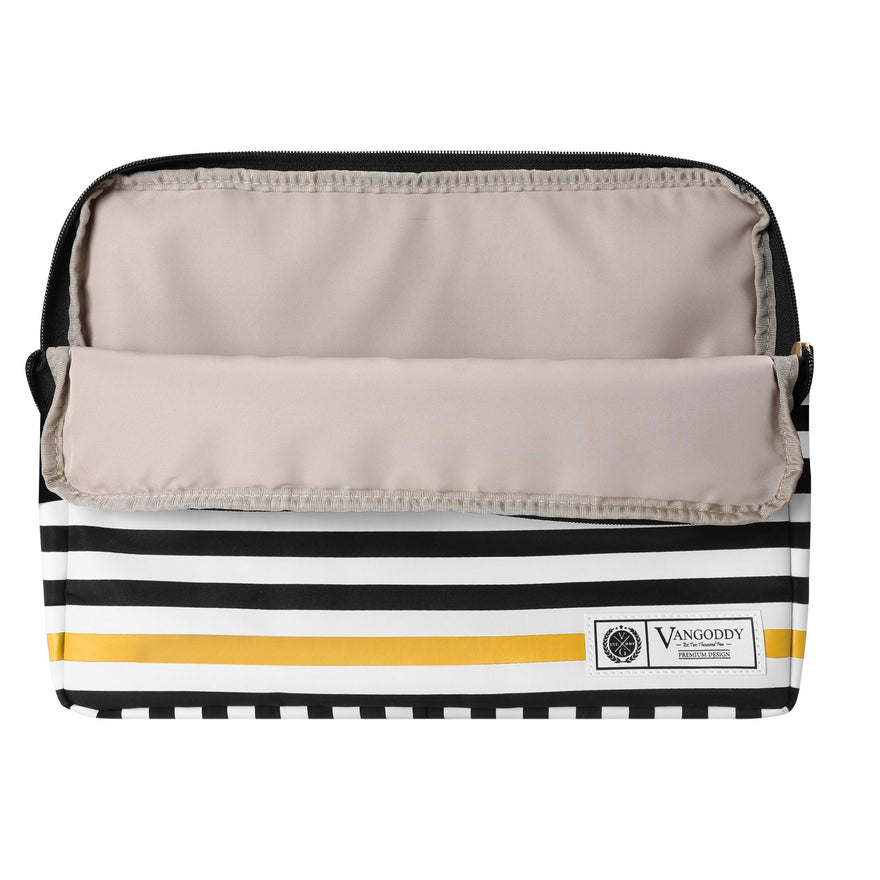 Vangoddy ABEL 15.6 inch Laptop Tablet Sleeve Black White Accent Stripe Pattern D