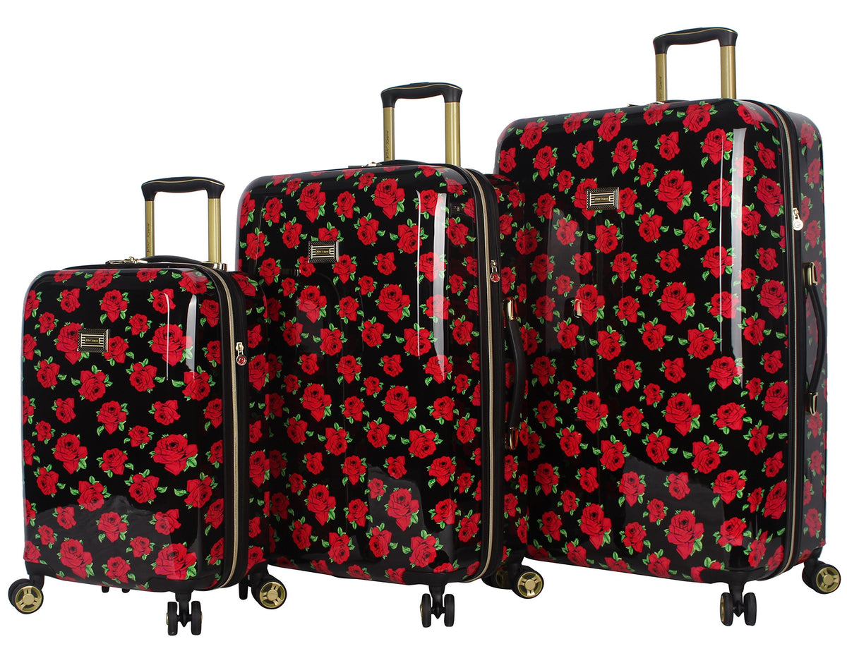 Betsey Johnson Designer Luggage Collection - Expandable 3 Piece Hardside Lightweight Spinner Suitcase Set - Travel Set includes 20-Inch Carry On, 26 inch and 30-Inch Checked Suitcase (Covered Roses)