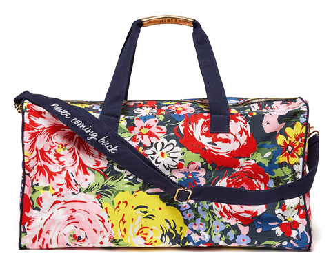 ban.do Women's Getaway Duffle Bag with Adjustable/Removable Strap and Metal Zip Close, Flower Shop