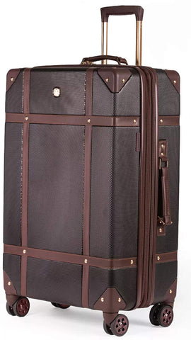 SWISSGEAR 7739 Trunk, Hardside Spinner Luggage, Large Checked Suitcase - Black