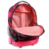 J World New York Sunrise 18-inch Rolling Backpack - Block Pink Black Plaid Polyester Adjustable Strap Lined Water Resistant