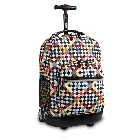 J World New York Sunrise 18-inch Rolling Backpack - Checkers Black Checkered Polyester Adjustable Strap Lined Water Resistant