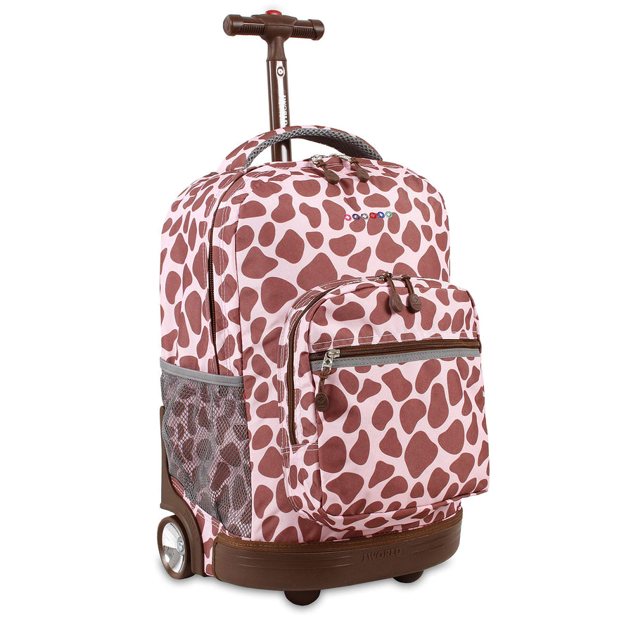 J World New York Sunrise 18-inch Rolling Backpack - Pink Zulu Designer Print Polyester Checkpoint-Friendly Adjustable Strap Lined Water Resistant