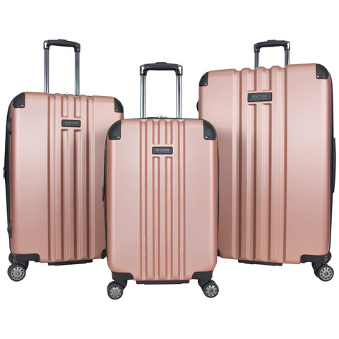 "Kenneth Cole Reaction Reverb Hardside 8-Wheel 3-Piece 20"" Carry-on, 25"", 29"" Luggage Set, Rose Gold,"