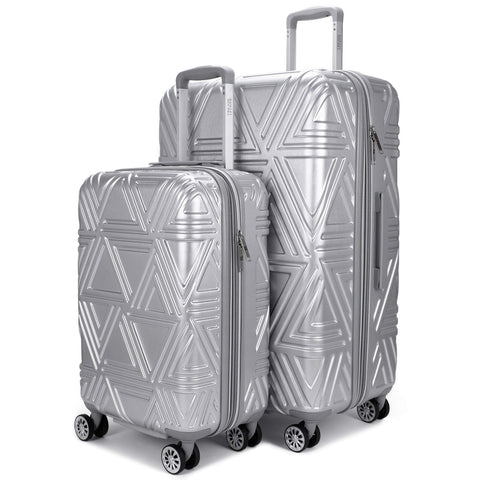 "Badgley Mischka Contour Hard Expandable Spinner Luggage Set (2 Piece) (Silver, 20""/28"")"