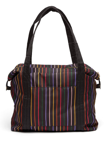 Ban.do Getaway Weekender Bag, Carry On Bag with Exterior Sleeve to Secure to Luggage, Disco Stripe
