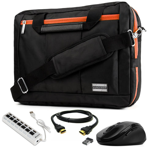 Laptop Bag Orange for HP Elite ProBook Spectre ChromeBook Pavilion, Envy 11 to 13.3 inch, Mouse, USB Hub, HDMI Cable