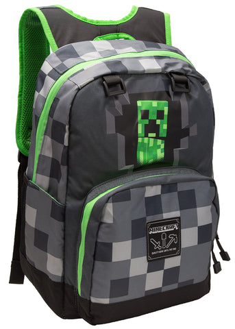 JINX Minecraft Creepy Creeper Kids School Backpack, Gray, 17""