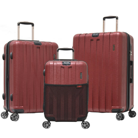 Olympia Sidewinder 3 Piece Luggage Set 21/25/29 Inch, Wine