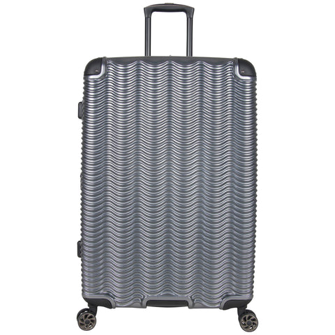 "Kenneth Cole Reaction Wave Rush 28"" Lightweight Hardside 8-Wheel Spinner Expandable Checked Suitcase, Metallic Charcoal"